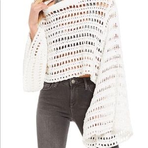 NWT Free people white cropped knit w/ bell sleeves